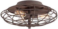 Industrial Cage Dark Rust 7 1/2 High Ceiling Light Fixture -3 60 watt Edison bulbs  $199.99