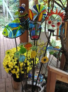 Garden Art, steel and fused glass.