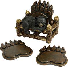 Amazing Coaster Set   Bear Paw. Log DecorRustic DecorBlack ...