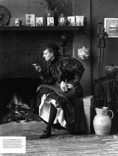 In her 1896 Self-Portrait (as New Woman) successful Washington, D.C. photographer and business owner, Frances Benjamin Johnston, poses cross-legged, as a man might do, while holding a cigarette and a beer stein.