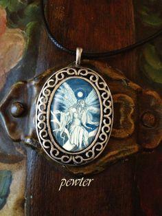Midnight Ice Faerie porcelain pendant, choose bronze or pewter finish frame. MickieMuellerStudio