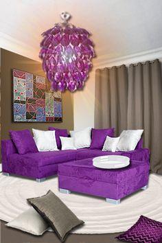 Idée déco : un salon lin et violet