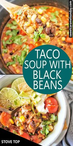 Taco Soup recipe cooked on the stove. Best Soup Recipes, Easy Dinner Recipes, Easy Meals, Healthy Recipes, Healthy Soups, Family Recipes, Popular Recipes, Drink Recipes, Delicious Recipes