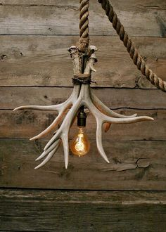 The Cabin Lit Chandelier Antler Shed Pendant Rope Light