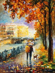 Leonid Afremov, oil on canvas, palette knife, buy original paintings, art, famous artist, biography, official page, online gallery, large artwork, fine, bench, landscape, night, rain, rainy weather, autumn park, leaf fall, garden, outdoors