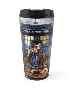 10th Doctor With Tardis Blue phone Box Travel Mugs #mugs #tardis #doctorwho #starrynight #vangogh #screamingman #flying #phonebooth #10th