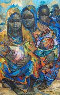 Afrikan Women With Children: N'damvu Tsiku-Pezo Black Women Art, Black Art, Modern Art, Contemporary Art, Cardboard Painting, Africa Art, African American Art, Magazine Art, Figure Painting
