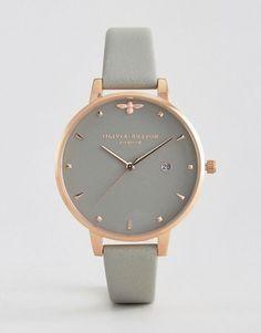 Olivia Burton Bee Grey Leather Watch