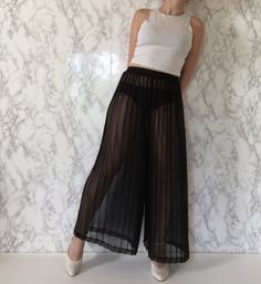 Spring-Summer 2016 / 1980s sheer pleated palazzo pants