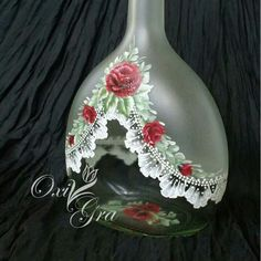 I really like the frosted with the bright white lace. Then a little color with… Wine Bottle Art, Glass Bottle Crafts, Painted Wine Bottles, Hand Painted Wine Glasses, Diy Bottle, Bottles And Jars, Glass Jars, Lace Painting, Bottle Painting