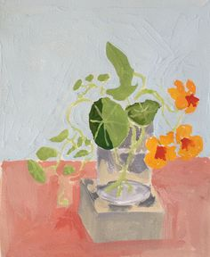 Orange Nasturtiums, 2016 Elizabeth Snelling Gouache Unique Work Size : x x in. Painting Still Life, Paintings I Love, Gouache Painting, Watercolor Paintings, Floral Paintings, All Art, Original Art, Fine Art, Abstract