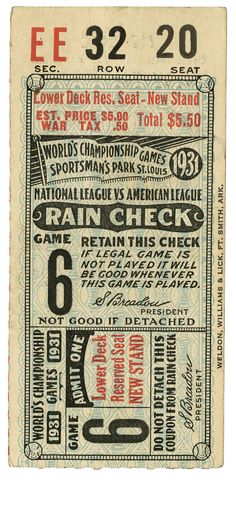 Baseball: 1931 World Series Game 6 Ticket Stub. 1931 saw the St. Louis Cardinals make it to the Fall Classic for the fourth time in six years, establishing themselves as the dominant NL team of the era. The Game 6 stub that we present here was played at St. Louis' Sportsman's Park and saw Connie Mack's Philadelphia Athletics stretch the Fall Classic to a deciding seventh game.