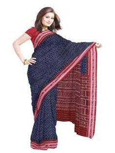 UNM3717-Marvelous casual blue pochampally handloom cotton silk tie and dye saree