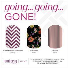 going...going...GONE! Boysenberry Chevron. Reminisce. Chasse. http://sochicnails.jamberry.com/au/en/shop