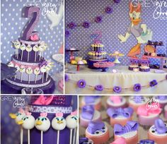 Daisy Duck Themed 2nd Birthday Party Theme Pink Purple Girl