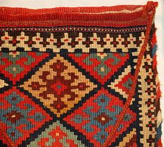 To illustrate what a slit-tapestry Qashqa'i-like chanteh (small single bag) face would look like, I brought along a Kordi slit-tapestry tubre/chanteh (ed. both Iranian terms for small bags).
