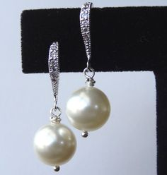 Sterling Silver Cubic Zirconia and Pearl Earrings by YMCDesigns, $20.00