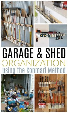 Garage and Shed Organization with the Konmari Method : Inside: Tackle the most disorganized area in your home or property! Garage and shed organization ideas, plus how to use the super popular Konmari Method to keep the clutter at bay for good. Tool Shed Organizing, Garage Workshop Organization, Storage Shed Organization, Diy Garage Storage, Garden Tool Storage, Storage Sheds, Storage Hacks, Organizing Ideas, Garage Storage Solutions