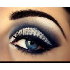 Navy sparkly eye makeup for dark blue dress Dances ❤ liked on Polyvore featuring beauty products, makeup, eye makeup, eyes and beauty