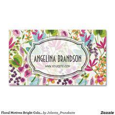 Floral Motives Bright Color Flower Business Card