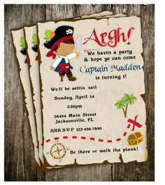 Pirate Treasure Ship Map Invitation Birthday Party by 2SweetTeas, $15.00