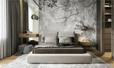 Modern bedroom with accent wall – The bedroom in modern style with am emphasis wall - Bedroom Bed Design, Modern Bedroom Design, Contemporary Bedroom, Bedroom Decor, Master Bedroom, Bedroom Ideas, King Bedroom, Bedroom Plants, Wood Bedroom