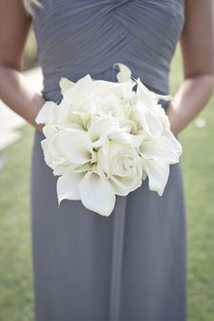 for bridesmaids - grey dress with white bouquet