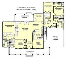 Southern Style House Plan - 4 Beds 3.5 Baths 2726 Sq/Ft Plan #44-113 Floor Plan - Main Floor Plan - Houseplans.com