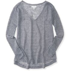Aeropostale Sheer V-Neck Shine Sweater ($6.90) ❤ liked on Polyvore featuring tops, sweaters, med heather grey, aeropostale sweaters, sheer sweater, sparkle sweater, relaxed fit tops and sheer top