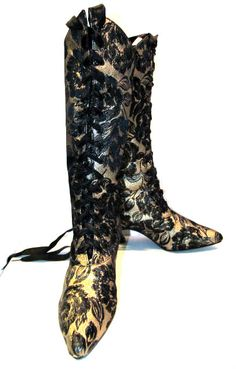 Victorian Style Boots Vintage Womens Gold Foil by Atomicfireball