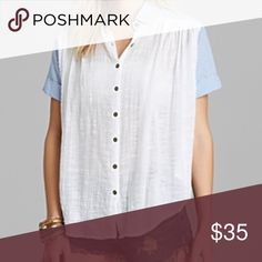 """FREE PEOPLE CUFFED SLEEVE TOP FREE PEOPLE SUMMER BUTTON DOWN TOP - BLOUSE  striped collar - cuffed sleeves - textured, loosely woven cotton. Front button closure. 100% cotton. Bust across 29""""  Machine wash cold, tumble dry low. Smoke free household. Free People Tops Blouses"""