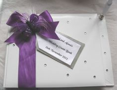 Cadbury's Purple Guest Book & Pen Decorated with Feathers/Butterfly-Personalised