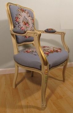 Vintage Needlepoint Chair Louis XV Style Petitpoint Antique Upholstered Armchair