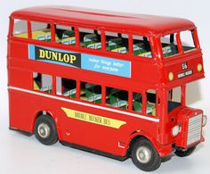 Vintage Tin Friction DOUBLE DECKER BUS, Dunlop & Mineral Water Advertising, Japan
