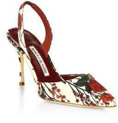 Manolo Blahnik Carolyn Floral Slingbacks #shoes #floral #heels #pretty #pumps #manoloblahnikshoes #manoloblahnikslingback