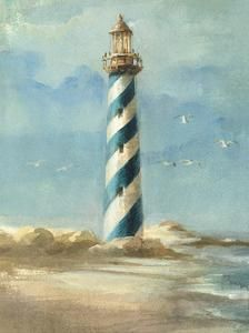 Lighthouse I By Danhui Nai Canvas Art - Painting House Canvas Artwork, Framed Artwork, Canvas Prints, Framed Wall, Lighthouse Painting, Photo Wallpaper, Online Art, Find Art, Art Projects
