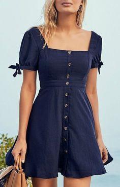 Chances Are Navy Blue Skater Dress - Kleidung online kaufen Simple Dresses, Pretty Dresses, Casual Dresses, Short Dresses, Elegant Dresses, Simple Dress Casual, Casual Outfits, Girly Outfits, Work Casual