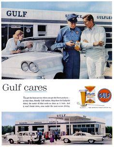 1959 Vintage Classics, Vintage Ads, Retro Ads, Vintage Stuff, Old Advertisements, Car Advertising, Pompe A Essence, Celebrity Cars, Oil Service