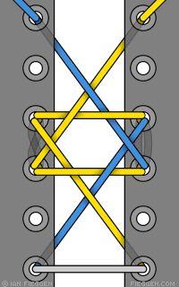 Star of David shoelace pattern