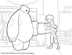 Baymax is trying to fit Baymax with new armor! Free coloring sheet!
