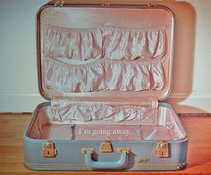 Pink and blue vintage suitcase - need this for my collection!