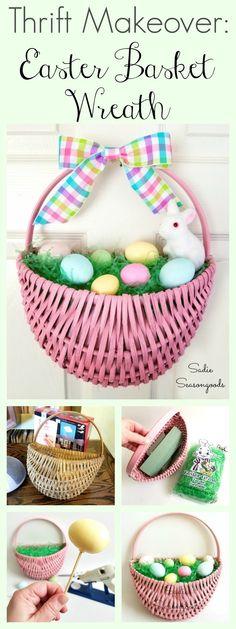 Repurposed and upcycled flat back hanging basket into DIY Easter basket wreath for Spring by Sadie Seasongoods / www.sadieseasongoods.com