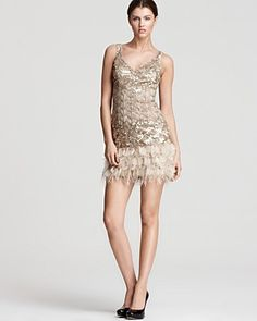 Sue Wong Cocktail Dress - V Neck Embellished | Bloomingdale's