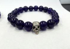 Amethyst beaded bracelet 8 mm smooth amethyst / skull bracelet / skull and amethyst bracelet / by DIAMONDFORLOVE on Etsy