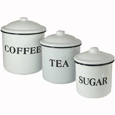 Canisters and Jars 20654: Creative Co-Op Coffee Tea Sugar Enamel Metal Containers With Lids Set, -> BUY IT NOW ONLY: $1225.86 on eBay!
