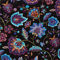 orientalische Blumen Stoff Miraval Timeless Treasures 1