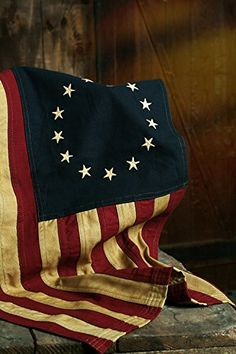 """Beautiful Colonial """"Tea Stained"""" Small Betsy Ross 28"""" x 17"""" American Flag 13 Stars Big Sky Antiques http://www.amazon.com/dp/B00NPHZ4CO/ref=cm_sw_r_pi_dp_Jnnvvb0WHS7KP"""