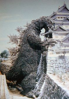 "Godzilla does some minor spring cleaning in ""Mothra vs Godzilla"" (1964)"