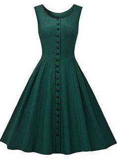 Missmay Women's Audrey Hepburn Sleeveless Retro Swing Rockabilly Evening Dress--Love this vintage look! Vestidos Vintage, Vintage Dresses, Vintage Outfits, Vintage Fashion, Vintage Style, 1950s Dresses, 1950s Style, Vintage Pins, Vintage Clothing