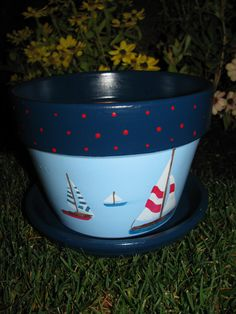 Sail Boat Flower Pot by bubee on Etsy, $20.00